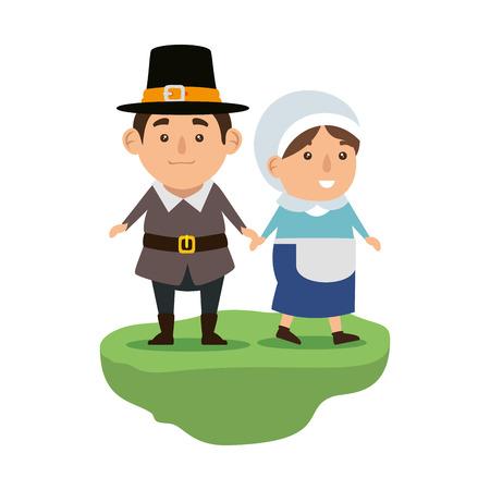 pilgrims couple characters icon vector illustration design Ilustrace
