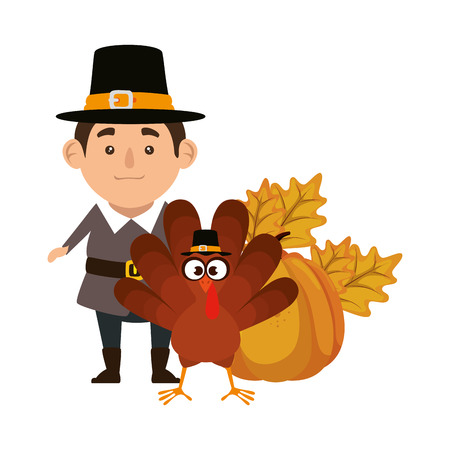 pilgrim man with turkey and pumpkin vector illustration design Stock fotó - 109400587