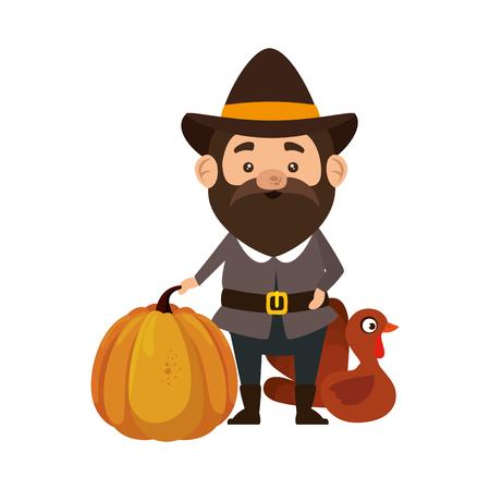 pilgrim man with turkey and pumpkin vector illustration design