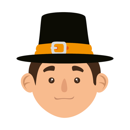 pilgrim man head character icon vector illustration design Иллюстрация