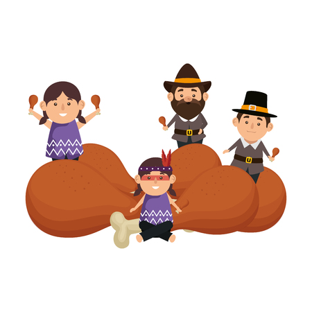 group of thanksgiving characters with turkey thighs vector illustration
