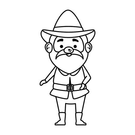 pilgrim man character icon vector illustration design