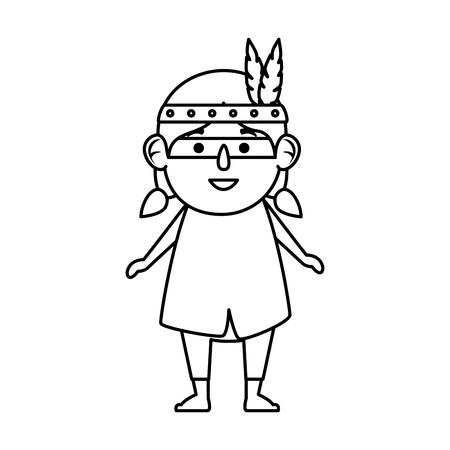 thanksgiving indigenous girl character vector illustration design