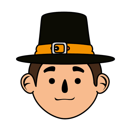 pilgrim man head character icon vector illustration design Illusztráció