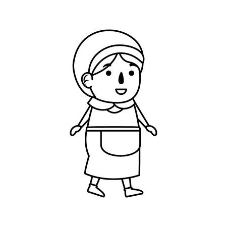 pilgrim woman character icon vector illustration design Illustration