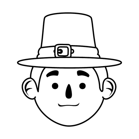 pilgrim man head character icon vector illustration design