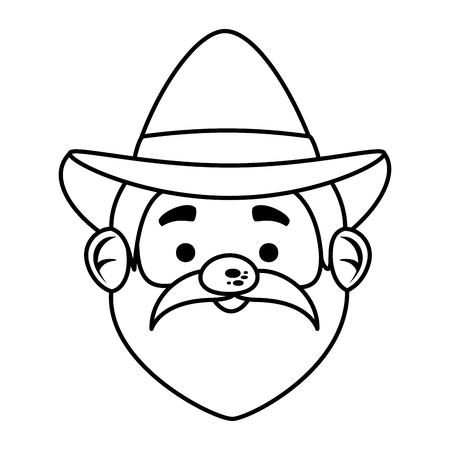 pilgrim man head character icon vector illustration design  イラスト・ベクター素材
