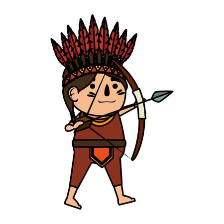 thanksgiving indigenus with bow vector illustration design Illustration