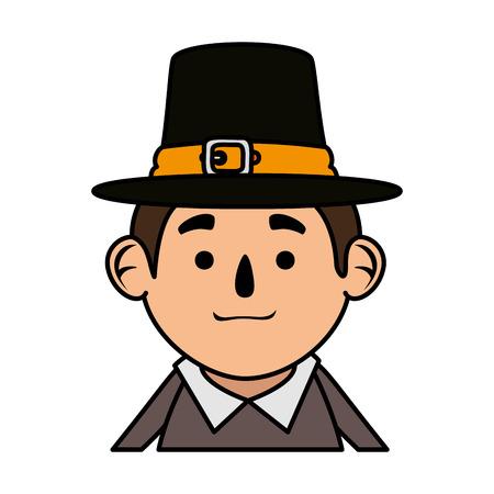 pilgrim man character icon vector illustration design Stock fotó - 109400627