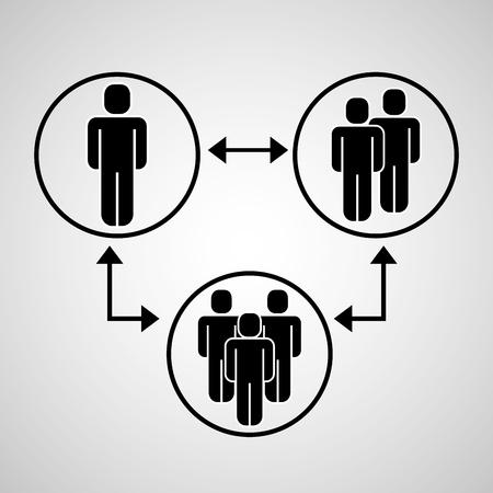 people group workflow teamwork connected vector illustration Vecteurs