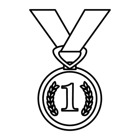 first place medal award vector illustration design