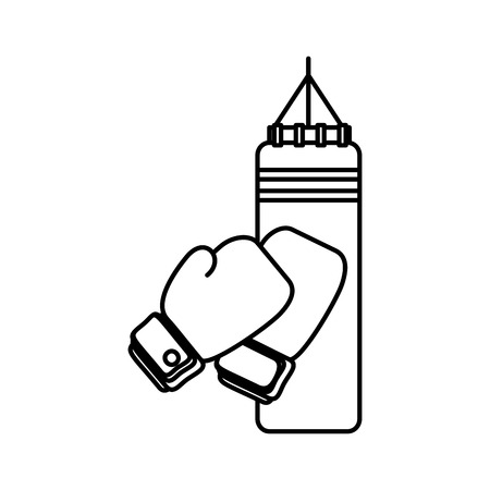 boxing sport gloves and pushbag vector illustration design