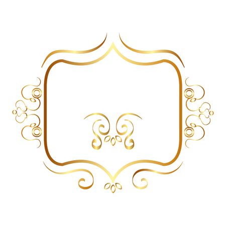 elegant golden frame icon vector illustration design