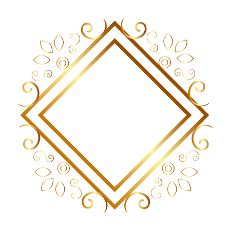 elegant rhombus golden frame vector illustration design Ilustração