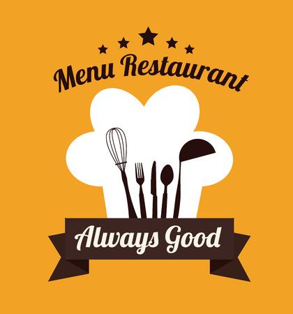 Restaurant design over yellow background, vector illustration Illustration