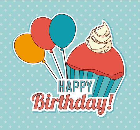 Birthday design over blue background, vector illustration Reklamní fotografie - 109455395
