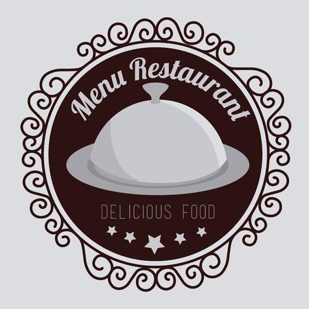 Restaurant design over gray background, vector illustration