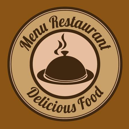 Restaurant design over brown background, vector illustration