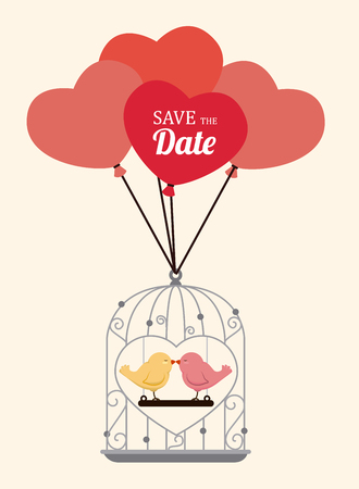 Wedding design over beige background, vector illustration Ilustração