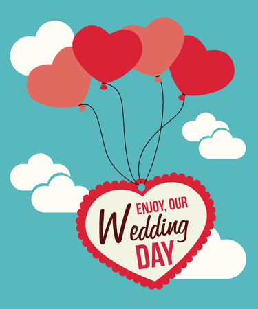 Wedding design over cloudscape background, vector illustration