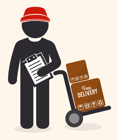 Delivery design over beige background, vector illustration