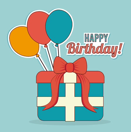 Birthday design over blue background, vector illustration 向量圖像