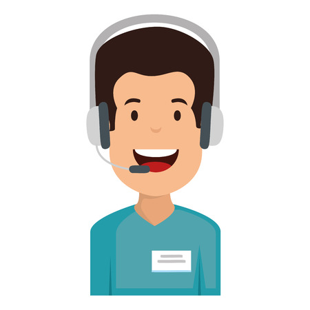 logistic agent with headset vector illustration design