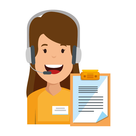 logistic woman agent with headset and checklist vector illustration design Illustration