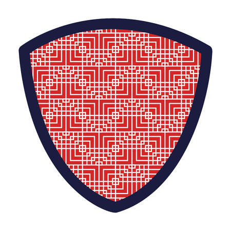 shield with squares pattern vector illustration design