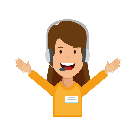 logistic woman agent with headset vector illustration design Illustration