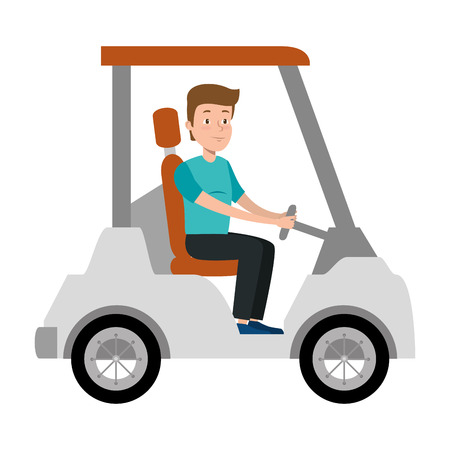 young man driving cart golf vector illustration design