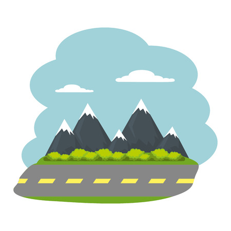 park landscape with road scene vector illustration design