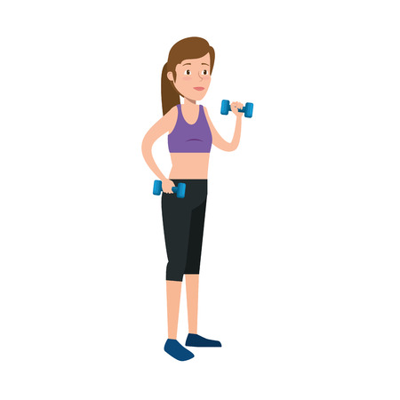 young woman lifting dumbbell vector illustration design