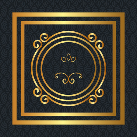 elegant circular golden frame vector illustration design