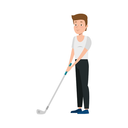 young man practicing golf vector illustration design
