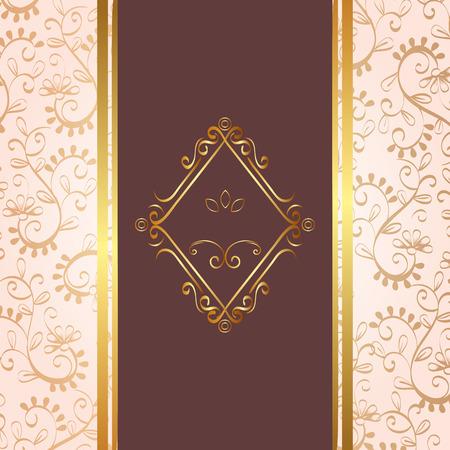 elegant rhombus golden frame vector illustration design Illustration