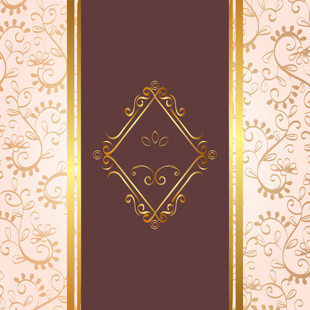 elegant rhombus golden frame vector illustration design Çizim