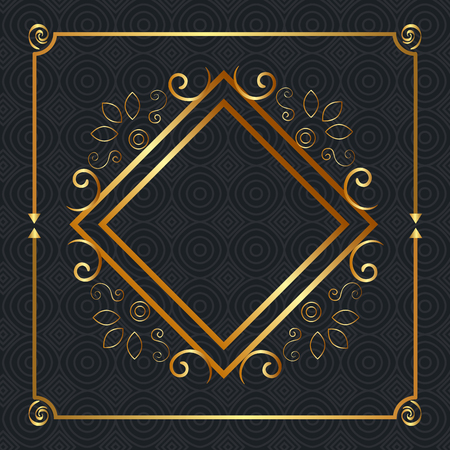 elegant rhombus golden frame vector illustration design Illustration