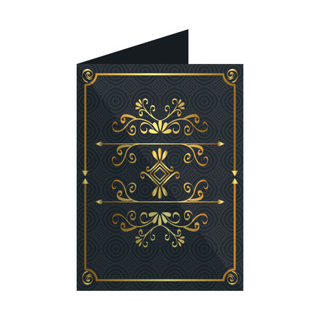 card with elegant golden frame icon vector illustration design Illustration
