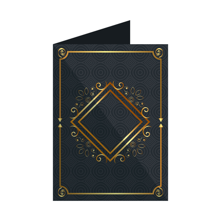 card with elegant rhombus golden frame vector illustration design