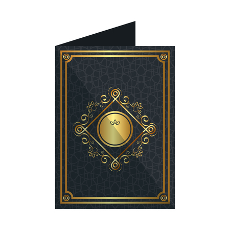 card with elegant circular golden frame vector illustration design