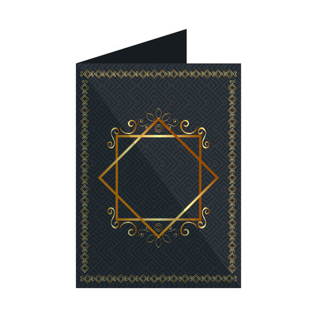 card with elegant square golden frame vector illustration design
