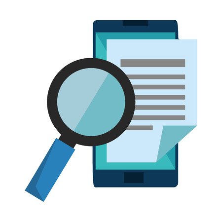 smartphone with document and magnifying glass vector illustration 일러스트