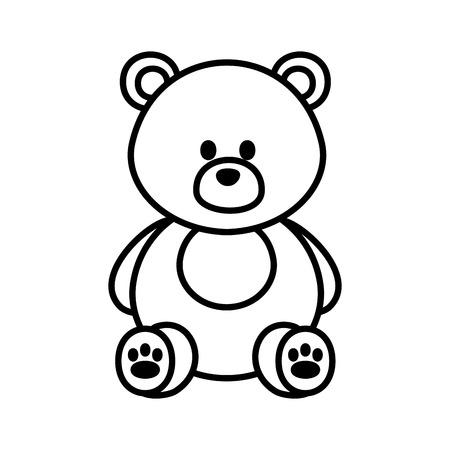 Diseño lindo del ejemplo del vector del icono del peluche del oso
