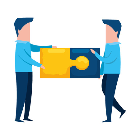 teamworkers with puzzle pieces game vector illustration design