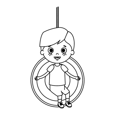 cute little boy playing in swing vector illustration design