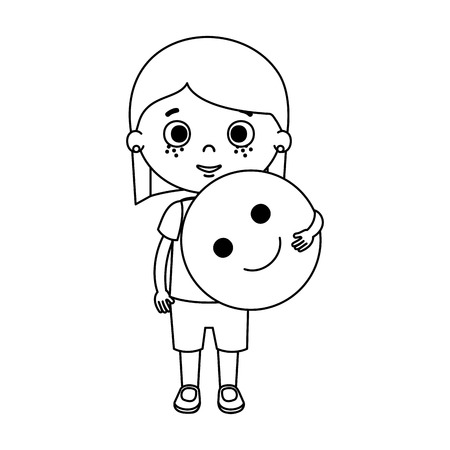 beautiful little girl with plastic balloon vector illustration design