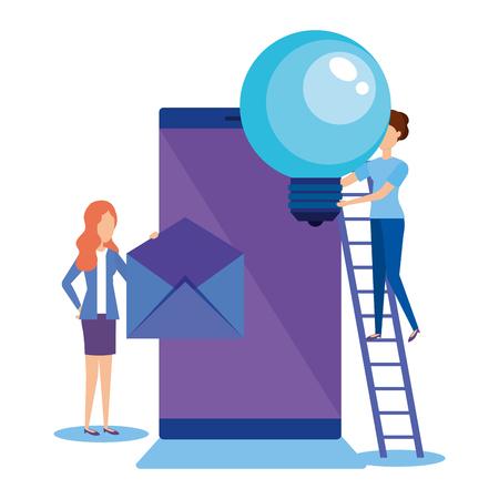 mini people with smartphone vector illustration design