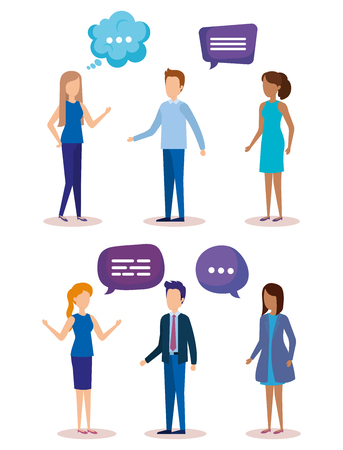 group of people with speech bubbles vector illustration design Illustration