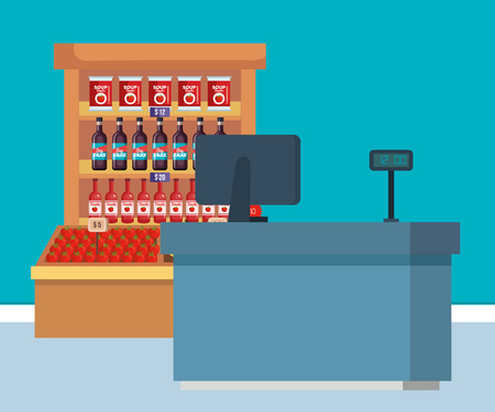supermarket shelving with products and sale point vector illustration